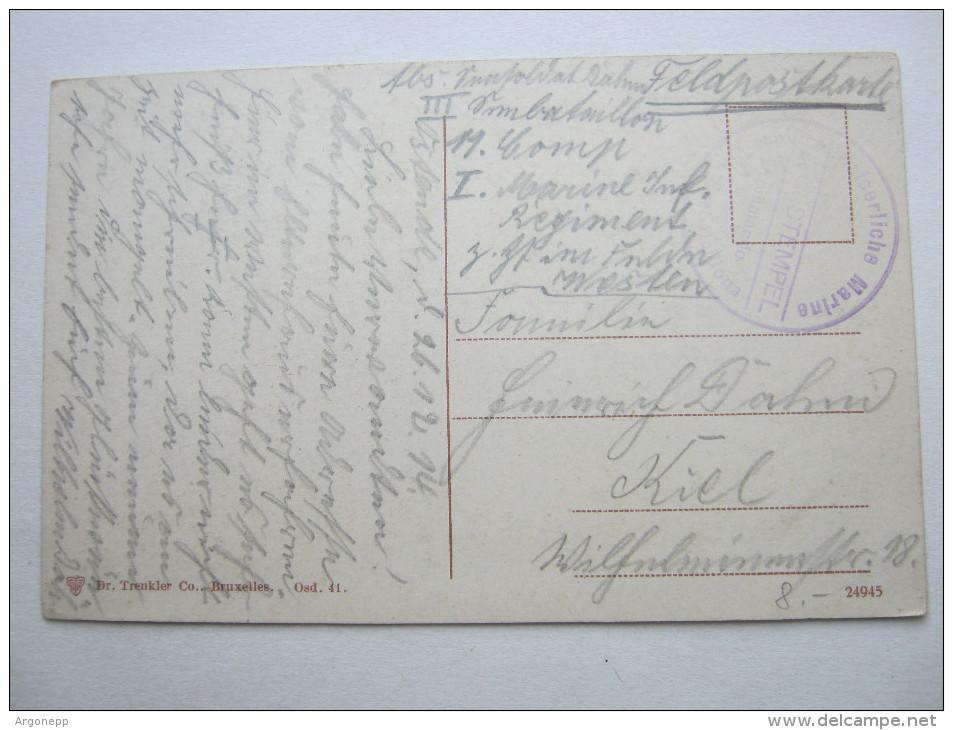 1914, OOSTENDE ,  Carte Militaire , Marine   , 2 Scans - WW I