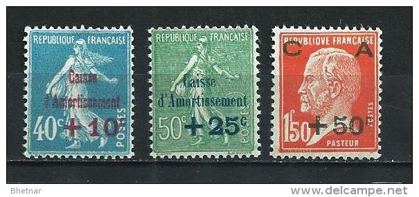 "FR YT 246 à 248 "" Série Caisse Amortissement "" 1927 Neuf* - Sinking Fund"