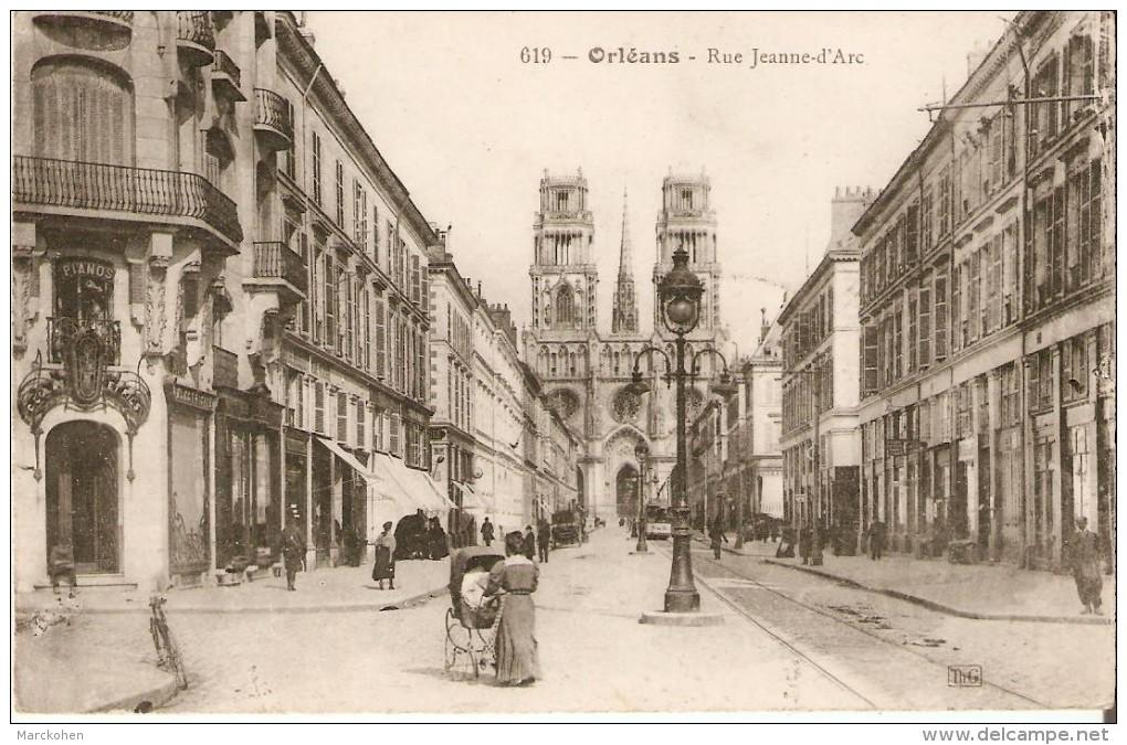 ORLEANS (45000) : Rue Jeanne D´Arc - CPA Animée : Femme Avec Un Landau, Tram. - Orleans