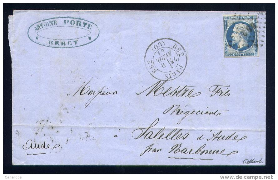 Lettre De Paris Pour La Sallèle D'Aude 1861 Cachet BS2 - Marcophilie (Lettres)