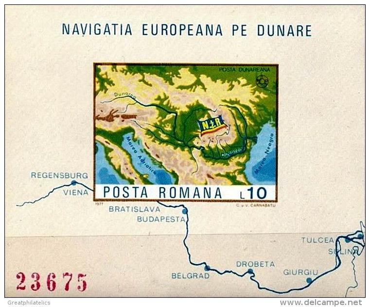 ROMANIA 1977 EUROPA RIVER MAP S/S Mi#3492 S/S CV50,00 EURO (3ALL) - Blocks & Sheetlets