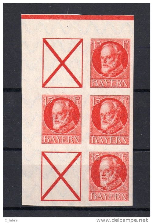BAVIÈRE  : N°114 B ** . 1916/20 . BLOC DE 6 EX . COMBINAISON AVEC CROIX . TB . - Bavaria