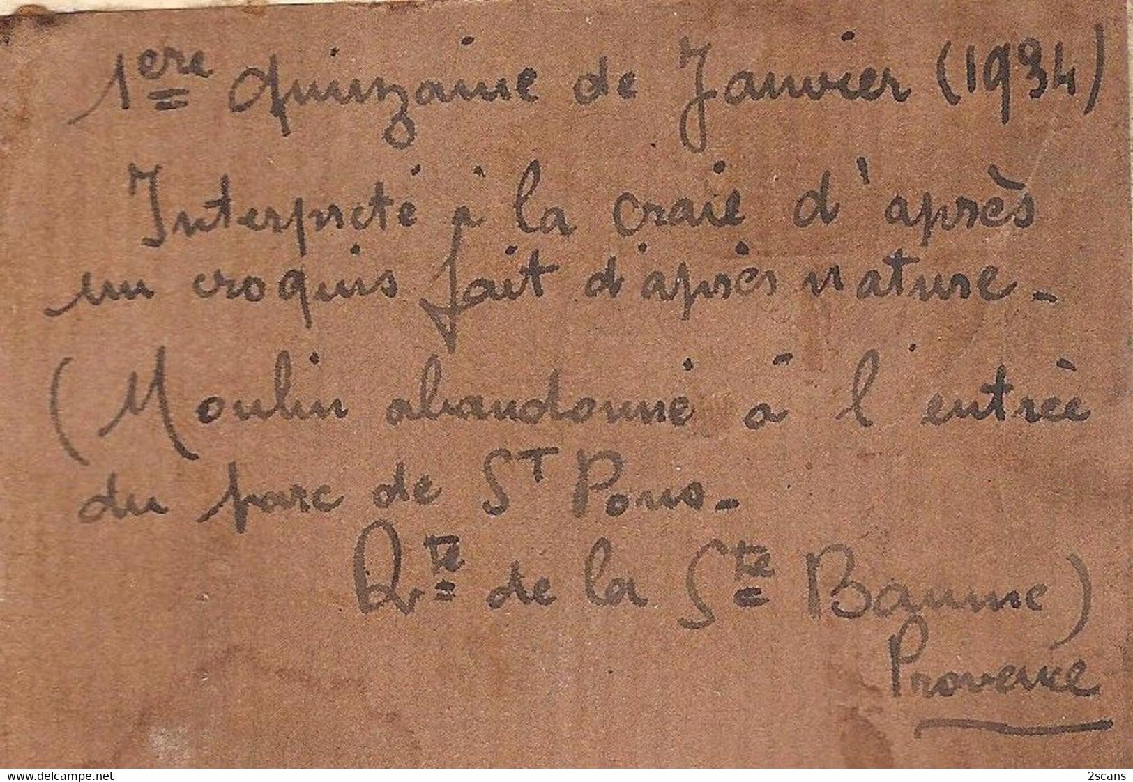 """Dépt 13 - GÉMENOS - Moulin Abandonné à L'entrée Du Parc De Saint-Pons - Joli Dessin Original """"à La Craie"""" (1934) - Dessins"""