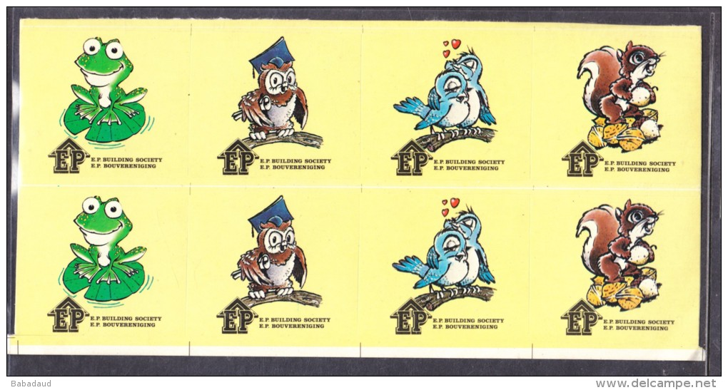 SOUTH AFRICA: EP Building Society, Frog, Owl, Blue Bird, Squirrell, Block Of 8 Stickers With Backing Paper - Stickers