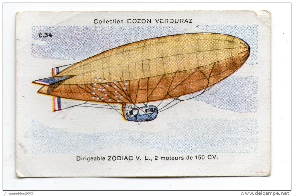 X07 / Chromo Bozon-Verduraz AVIATION 7.6x4.8cm SERIE C.34 DIRIGEABLE ZODIAC V.L.   ... ( VOIR PHOTO ) - Cromos