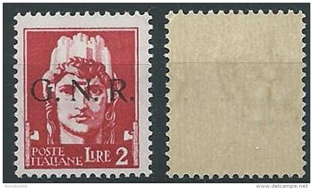 1944 RSI GNR BRESCIA 2 LIRE I TIPO MNH ** - ED859 - Ongebruikt
