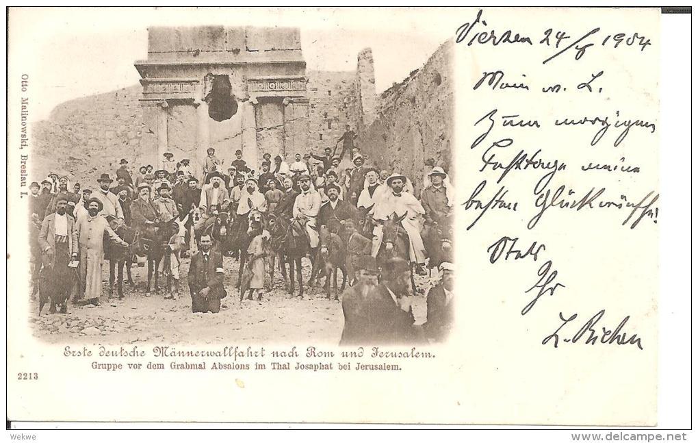 Pal008/ Deutsche Wallfahrtsgruppe Vor Dem Grabmal Absalomons Ca. 1898 - Palästina