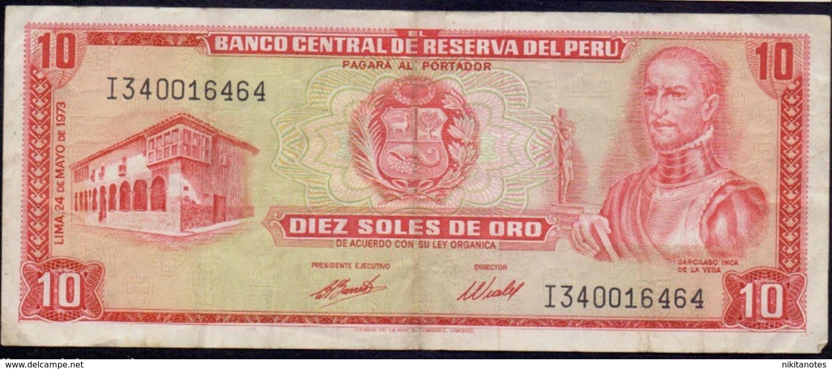 PERU 10 SOLES Perú  Billete  10 Soles 1971-1973 Vf - Peru