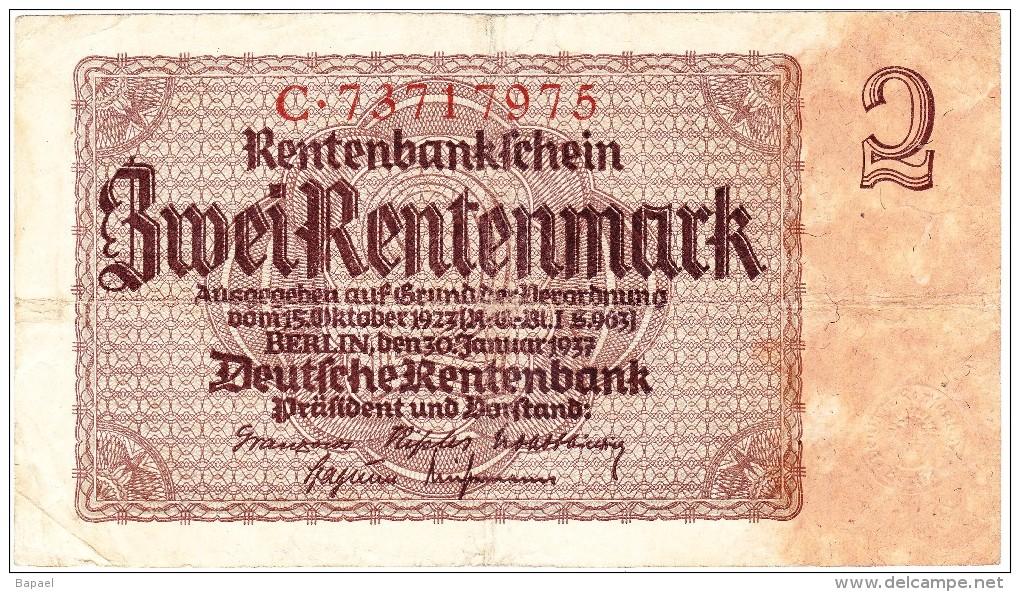 Rentenbankschein - 2 Rentenmark - 30 Janvier 1937 (N° C.73717975) (Recto-Verso) - Sonstige