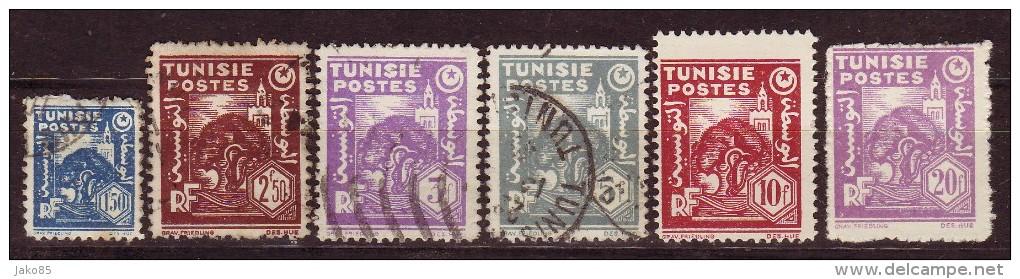 TUNISIE - 1944 - YT N° 257 + 259 / 260 + 263 + 265 + 267 - Oblitérés - 6 Valeurs - 265 + 267 ** - Oblitérés