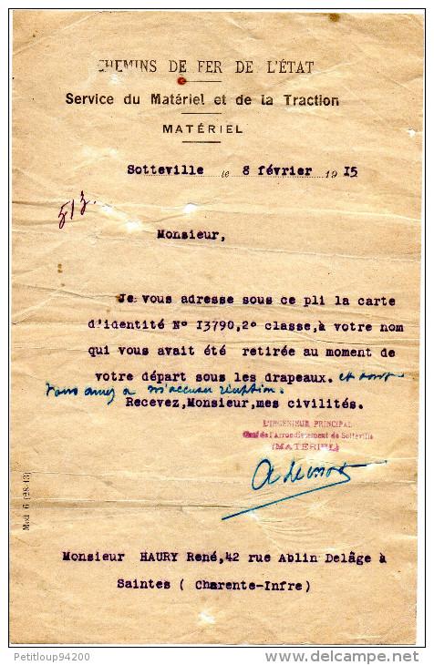 CHEMINS DE FER DE L'ETAT  Service Du Matériel Et De La Traction  CARTE D'IDENTITE 2e Classe1915 Sotteville - Railway