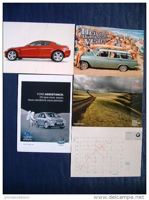 5 Postcards On Cars - Mazda Ford BMW Toyota - Australia Beach Island Italy Chart FranceJapan - Passenger Cars