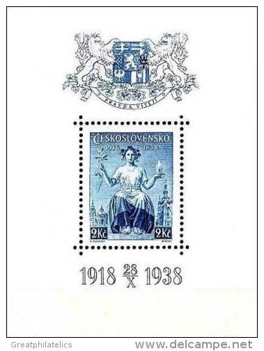 CZECHOSLOVAKIA 1938 REPUBLIC ANNIV. S/S SC#B153 MNH CV$4.00 COAT Of ARMS - Stamps
