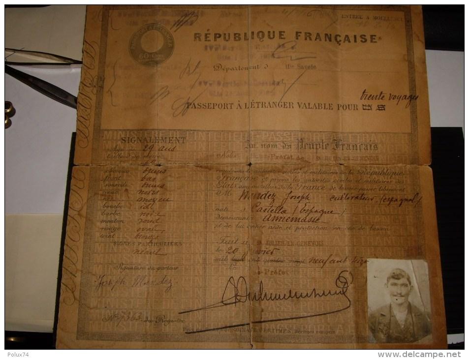 Passeport A L étranger  60 Cts 1916 Pour 30 Voyages-suisse Moellesulaz Geneve -abimé Dechirure - Revenue Stamps