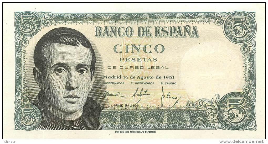 ESPAGNE BILLET 5 PESETAS 1951 - 5 Pesetas