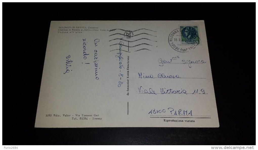 C-14707 CARTOLINA DOLOMITI DI BRENTA - CROZZON DI BRENTA M.3135 E CIMA TOSA M.3175 VEDUTA DELL'ALBA - Trento