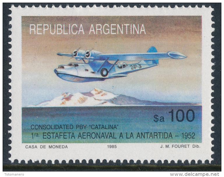 ARGENTINA ANTARTIDA 1985 PBY ´CATALIANA´ The 1st Aeronaval  Courier To Antarctica, 1v** - Polar Flights