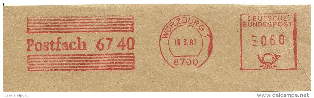 Germany Nice Cut Meter, Freistempel  Postfach 6740  Wurzburg 18-3-1981 - [7] West-Duitsland