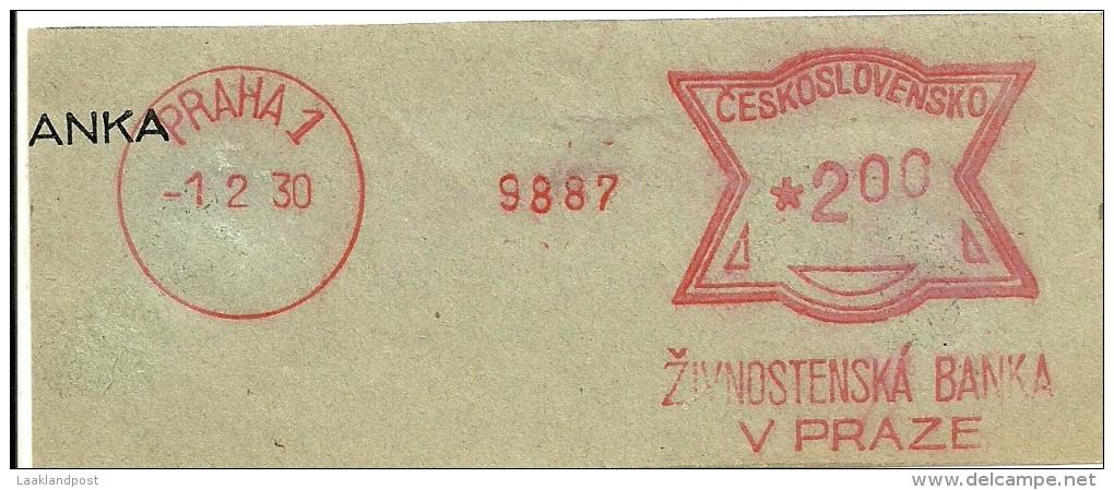Ceskoslovensko Nice Cut Meter, Freistempel  Zivnostenska Bank V Praza 9887, Praha 1-2-1930 - Tsjechoslowakije