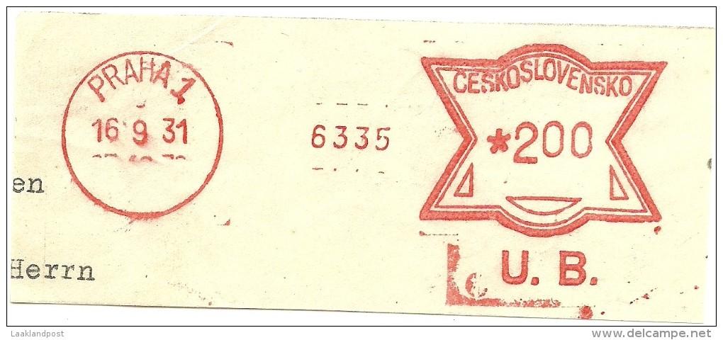 Ceskoslovensko Nice Cut Meter, Freistempel U. B. 6335 Bank, Praha 1, 16-9-1931 - Tsjechoslowakije