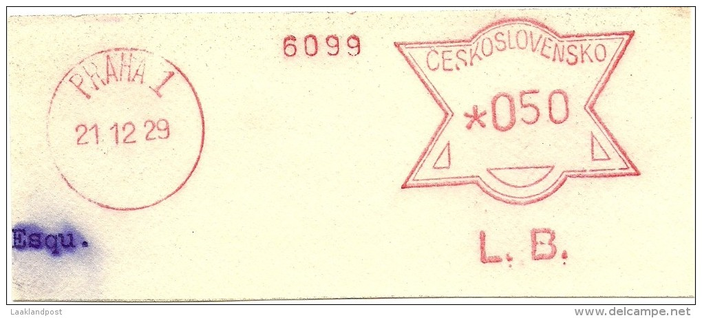 Ceskoslovensko Nice Cut Meter, Freistempel  L.B. 6099 Bank?, Praha 1, 12-12-1929 - Tsjechoslowakije