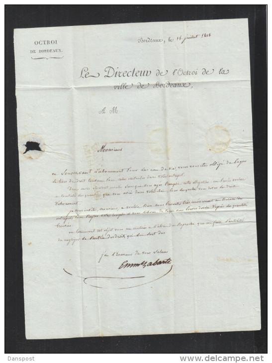 Lettre 1808 Petite Poste Bordeaux - Marcophilie (Lettres)