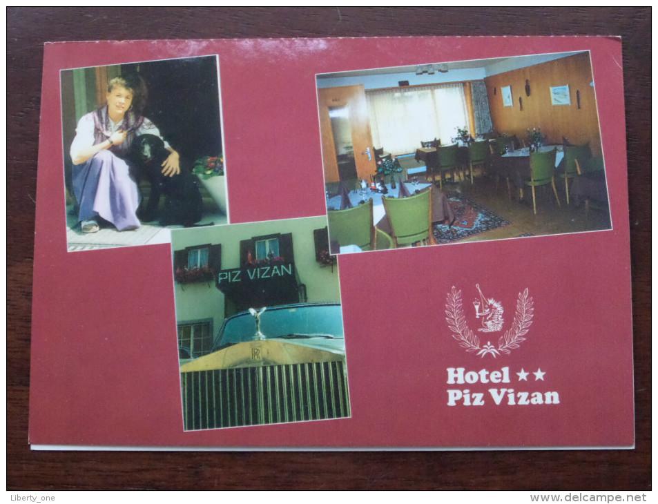 Hotel ** PIZ VIZAN Martin Grischott Andeer / Anno 19?? ( Dubbele Reclame Kaart - Zie Foto´s Voor Details ) !! - Hotels & Restaurants