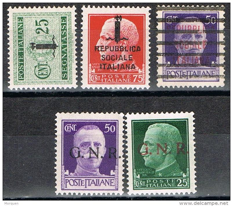 Lote 5 Sellos Republica Soial Italiana Y G.N.R., Varios º/* - 1944-45 République Sociale