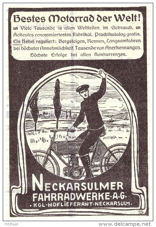 Original Werbung - 1905 - NSU Motorrad , Neckarsulm , Moto !!! - Motorräder