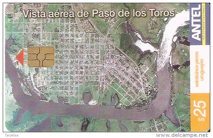 Nº 283 TARJETA DE URUGUAY DE VISTA AEREA DE PASO DE LOS TOROS - Uruguay