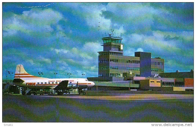 AK AERODROME AIRPORT CLEVELAND OHIO   ALTE POSTKARTE 1961 - Aerodrome