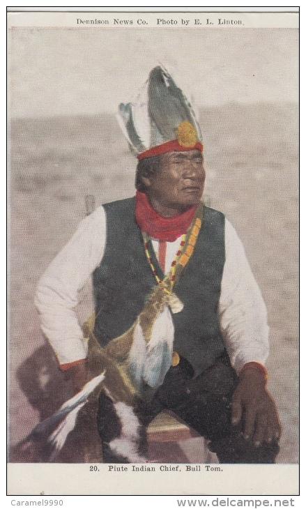 Indiaan      Native Arizonians USA   Piute Indian Chief. Bull Tom             Scan 8390 - Historische Persönlichkeiten