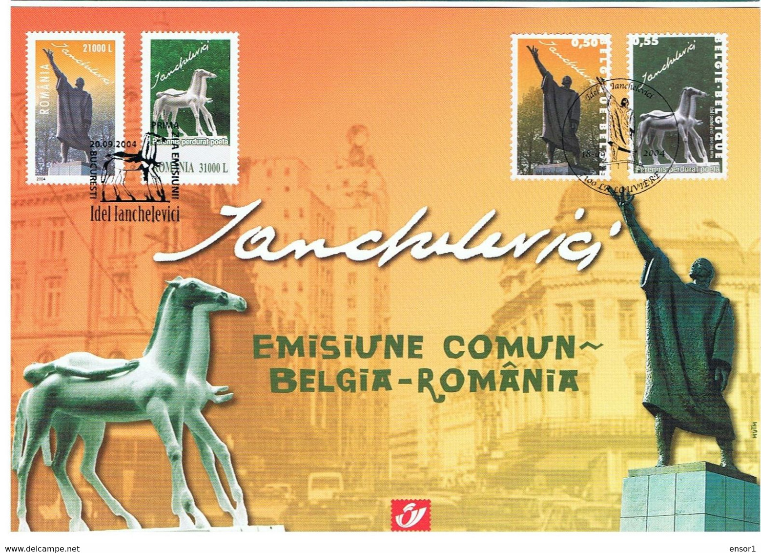 België 2004 Herdenkingskaart 3308-09HK Roemenië Beeldhouwer Igar Lanchlevici - Souvenir Cards
