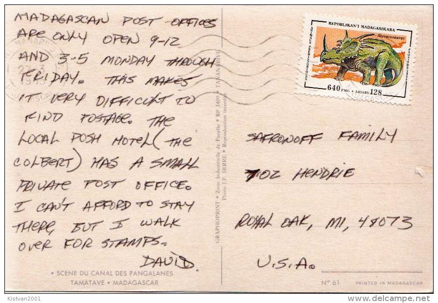 Postal History Cover: Madagascar Dino Stamp On PPC - Monkeys