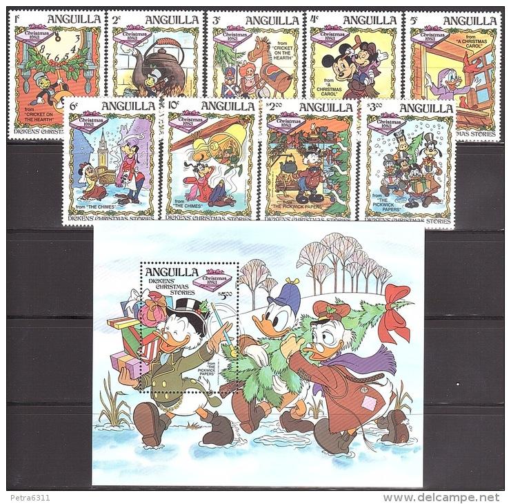 Walt Disney  MiNr. 557 - 566 (Block 52) Anguilla  MNH / ** / POSTFRISCH - Disney