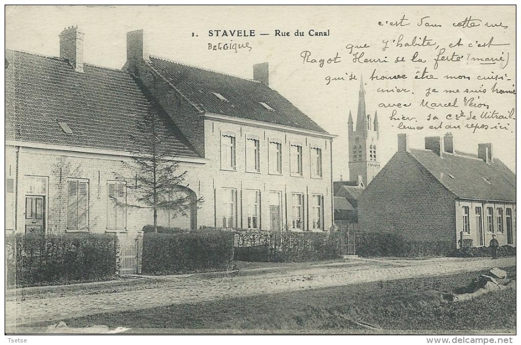 Stavele - Rue Du Canal - 1916 ( Verso Zien) - Alveringem
