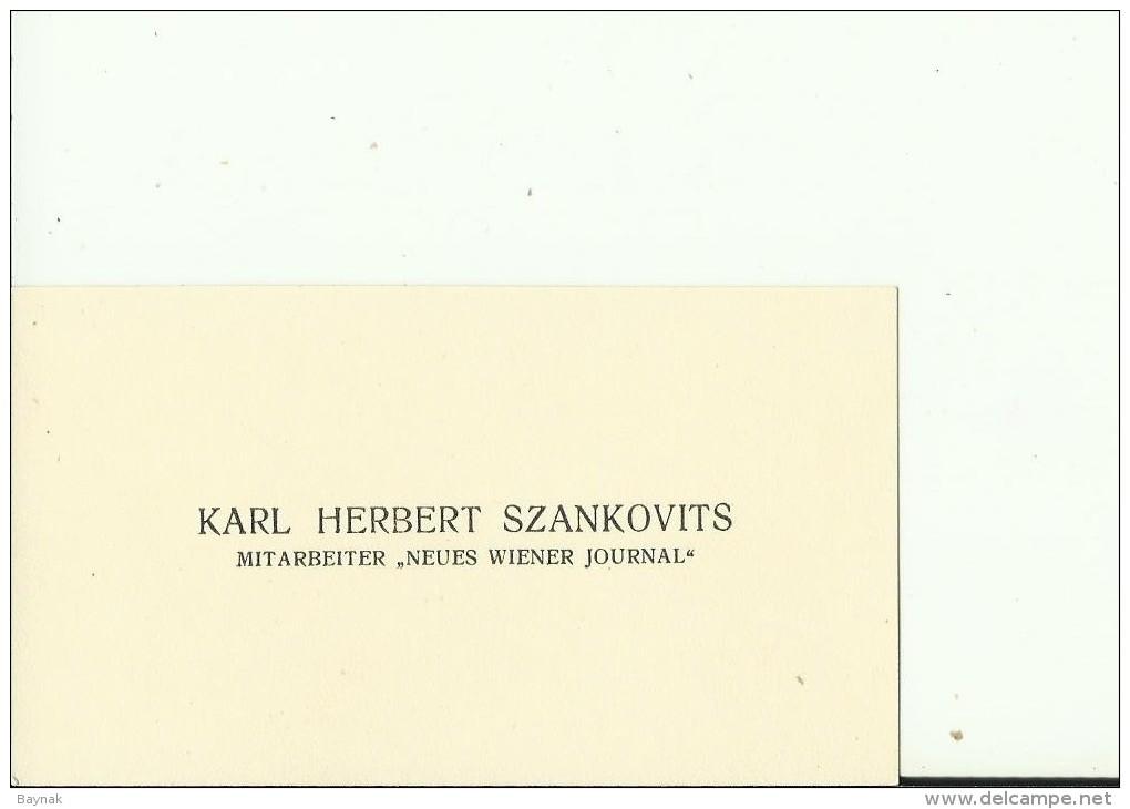 AUSTRIA,  HUNGARY  --  VISITING CARD  --   KARL HERBERT SZANKOVITS  --   MITARBEITER  ,, NEUES WIENER JOURNAL ,, - Visitenkarten