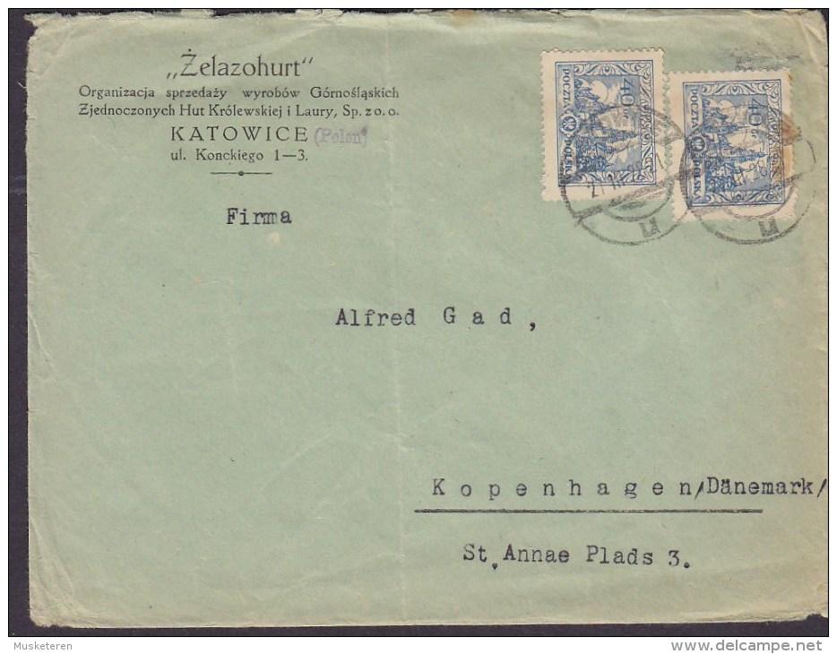 "Poland ""ZELAZOHURT"" KATOWICE 1928 Cover Brief To Denmark 2x Wawel-Schloss Stamps - 1919-1939 République"