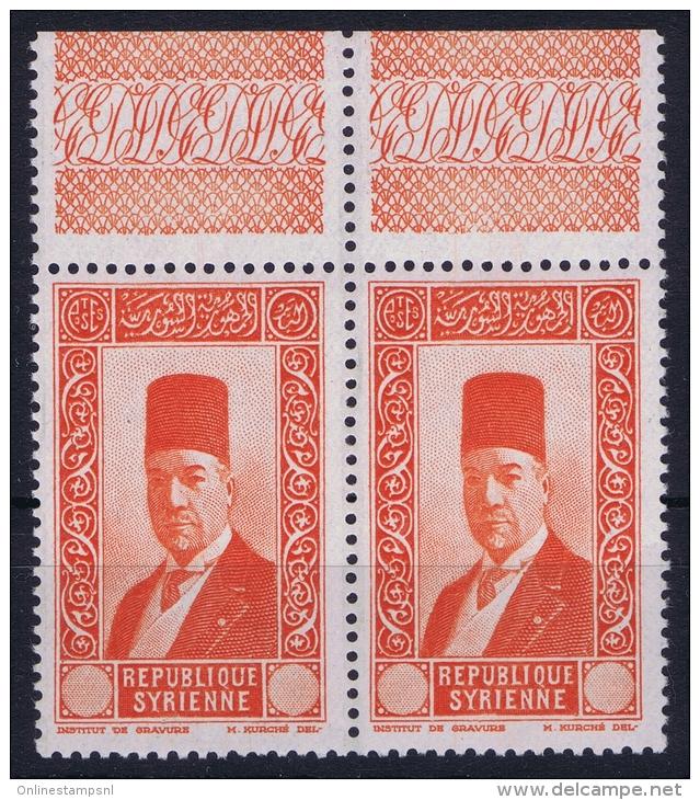 Syrie: 1944 Yv 237, Maury 241a, Sans Valeur Dans Le Cartouche,  Paire , Bord De Feuille Signed  MNH/** - Syria (1919-1945)