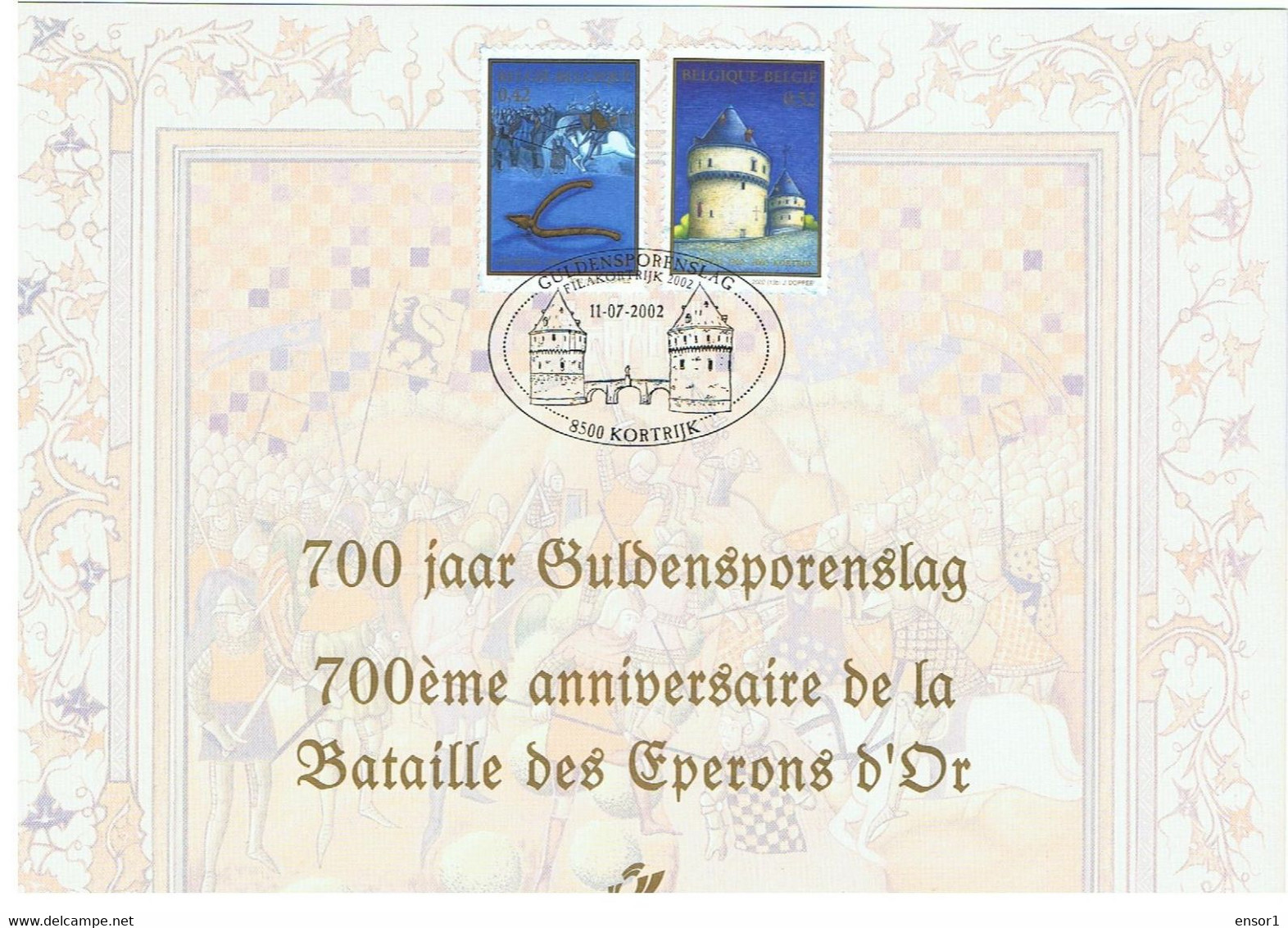 België 2002 Herdenkingskaart 3088/89HK Guldensporenslag Kortrijk - Cartoline Commemorative