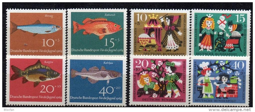 WF/Jugendserie 1964 BRD 412/5+447/0 ** 3€ Fisch Hering Rot-Barsch Karpfen Kabeljau Märchen Dornröschen Fauna Set Germany - Childhood & Youth
