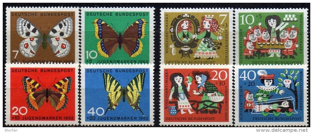 WF/Jugendserie 1962 BRD 376/9+385/8 ** 5€ Schmetterlinge Falter Fuchs Märchen Schneewittchen 7 Zwerge Fauna Set Germany - Childhood & Youth