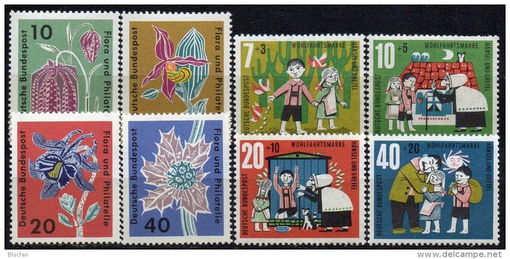 WF/Jugendserie 1961 BRD 369/2+392/5 ** 3€ Flora/Philatelie Blumen Akalei Distel Märchen Hänsel&Gretel Flower Set Germany - Childhood & Youth