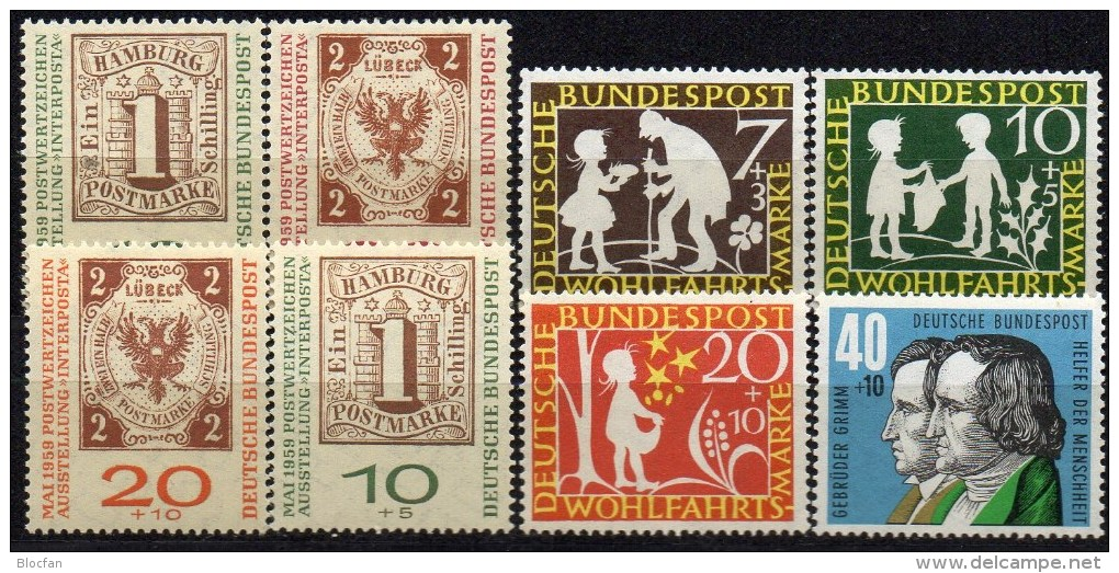 WF/Jugendserie 1959 BRD 322/5+310/1a,b ** 8€ INTERPOSTA Hamburg #2 Lübeck #3 Märchen Sternentaler Philatelic Set Germany - Childhood & Youth