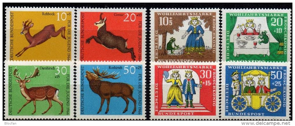 WF/Jugendserie 1966 BRD 511/4 + 523/6 ** 3€ Hochwild Reh Gemse Damhirsch Rothirsch Märchen Froschkönig Fauna Set Germany - Childhood & Youth