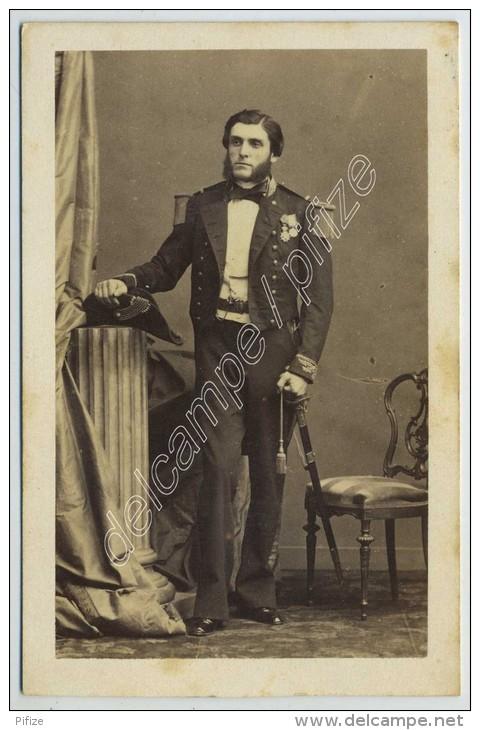 CDV Circa 1860 Disdéri. Lt De Vaisseau (futur Vice-amiral) Charles Marie Duperré. Baltique. Aide  Camp Prince Impérial. - Old (before 1900)