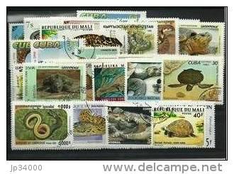 REPTILES Lot De 100 Timbres Tous Differents. Satisfaction Assurée - Reptiles & Batraciens