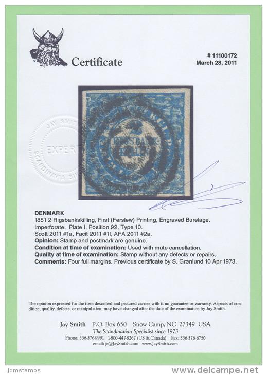 DEN SC #1a  1851 2 Rigsbankskilling  1st (Ferslew) Printing  4 Margins W/cert, CV $2400.00 (I) - Used Stamps