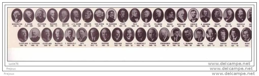 REGLETTE 30 Centimères  -  PORTRAITS En MEDAILLONS Des   PRESIDENTS Des ETATS UNIS D´ AMERIQUE -   DRAPEAUX - Altri