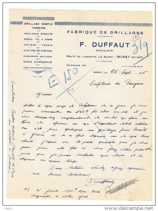 Lettre à Entête -  Fabrique De Grillages F. DUFFAUT à MURET 1946 (fr16) - France